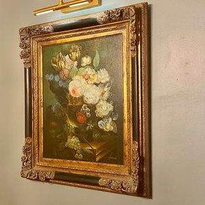 Original Framed Airele Oil on Canvas Painting